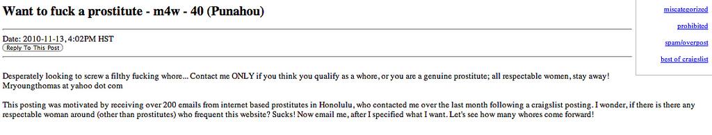 Sex Still Very Much for Sale on Craigslist - Honolulu Civil Beat